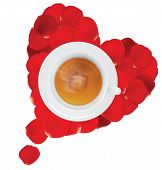 A Cup Of Hot Tea In The Heart Of Rose Petals. Vector Illustration