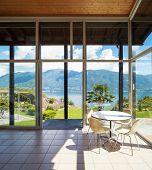 Architecture, interior with landscape view, veranda