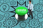 The word remote and happy businessman standing with hands in pockets against digitally generated green push button