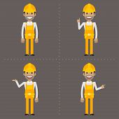 Builder indicates in various poses