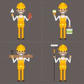 Worker specialist builder painter carpenter with tool