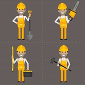 Worker with shovel hammer chainsaw and level