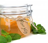 image of jar jelly  - Homemade mint jelly in glass jar - JPG