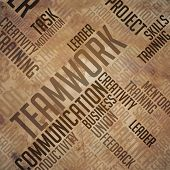 Teamwork - Grunge Word Cloud Concept.