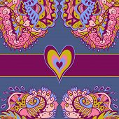 Colorful Abstract Love Card. Dark Background.
