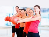 fitness, sport, training, gym and lifestyle concept - group of smiling people working out with stability balls in the gym