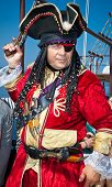 HAKIDIKI, GREECE-MAY 25, 2014: Pirate entertains tourists in Ormos Panagias, Greece on May 25, 2014.