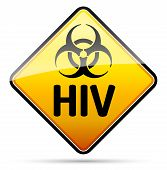 Hiv Biohazard Virus Danger Sign With Reflect And Shadow On White Background.