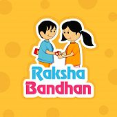 foto of rakhi  - Hindu community festival Happy Raksha Bandhan celebrations with cute little sister tying rakhi on his brother wrist on bright yellow background - JPG