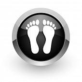 foot black chrome glossy web icon