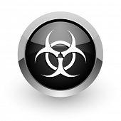 biohazard black chrome glossy web icon