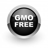 gmo free black chrome glossy web icon