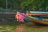 Colorful Long Tailed Boat In Chaopraya River Thailand