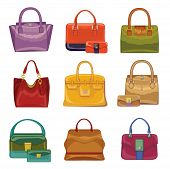 Coloured fashion women's handbags on white background