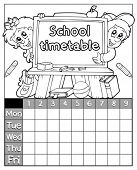 Coloring book timetable topic 3 - eps10 vector illustration.