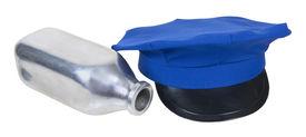 picture of milkman  - Milkman delivery hat and fallen silver milk bottle  - JPG