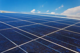 image of solar battery  - A roof with solar panels cells  - JPG