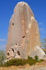 image of cave-dweller  - Probably the best known feature of Cappadocia, Turkey found in its very heart, are the fairy chimneys of Goreme and its surrounding villages ** Note: Soft Focus at 100%, best at smaller sizes - JPG