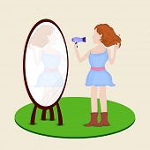 Stylish fashionable young girl seeing in mirror while drying hair with blow dryer.
