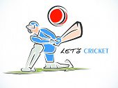 stock photo of cricket shots  - Cricket batsman ready to hit the shot on white background - JPG
