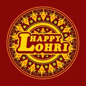 Beautiful floral decorated rangoli for Punjabi festival, Happy Lohri celebration.