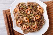 Buckwheat Soba Noodles With Shrimp Close-up. Horizontal Top View