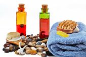 Bath accessories and beauty products poster
