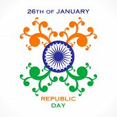 stock photo of ashok  - happy flora republic day greeting design vector - JPG