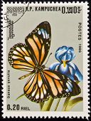 Stamp, Butterfly On Flower.