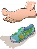 Big barefoot hovering over a small world map shoe