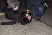 Unconscious reveler being treated