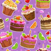 Seamless pattern with cakes and sweets