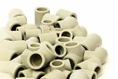 pic of thermoplastics  - A lot of combined fittings for plastic pipes - JPG