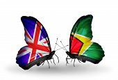 Two Butterflies With Flags On Wings As Symbol Of Relations Uk And Guyana