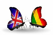 Two Butterflies With Flags On Wings As Symbol Of Relations Uk And Mali