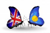 Two Butterflies With Flags On Wings As Symbol Of Relations Uk And Palau