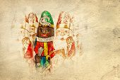 Close up of Sinterklaas and Black Pete on old paper . Saint  Nicholas chocolate figure of  Dutch character of Santa Claus