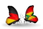 Two Butterflies With Flags On Wings As Symbol Of Relations Germany And Grenada