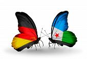 Two Butterflies With Flags On Wings As Symbol Of Relations Germany And Djibouti