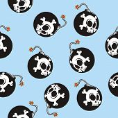 cartoon bomb seamless pattern
