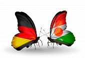 Two Butterflies With Flags On Wings As Symbol Of Relations Germany And Niger