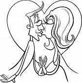 Kissing Couple In Love Coloring Page