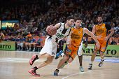 VALENCIA, SPAIN - DECEMBER 30: Vidal with ball during Spanish League match between Valencia Basket Club and Juventut at Fonteta Stadium on December 30, 2014 in Valencia, Spain
