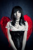 stock photo of gothic girl  - Pretty gothic girl with red wing posing over dark - JPG