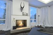 3D Rendering of Modern stylish white living room interior with a fire burning in the grate under a hunting trophy flanked by view windows with white drapes overlooking trees