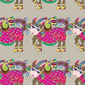 ethnic seamless pattern fabric with unusual tribal animal