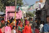 Indian People Walking In The Street Of Pushkar
