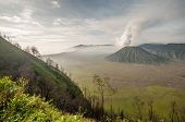 pic of bromo  - Foggy morning view of Bromo volcano at sunrise Java Indonesia - JPG