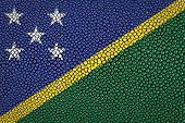 stock photo of stingray  - Solomon Islands Flag painted on stingray skin texture - JPG
