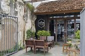 Phuket Town, Thailand - Sept,18 2014:Cafe on the street of the old town. Phuket Town, Thailand